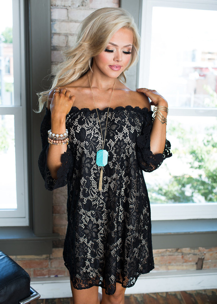 Be Seen Off the Shoulder Lace Dress Black