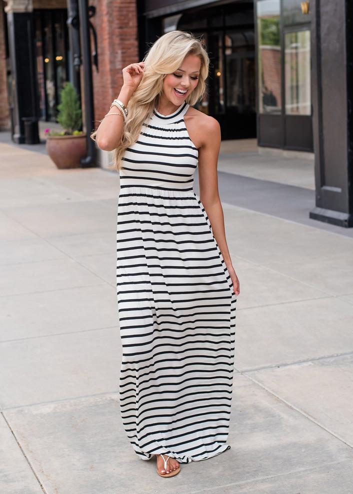 I'm Yours Striped Halter Style Maxi Dress White/Black
