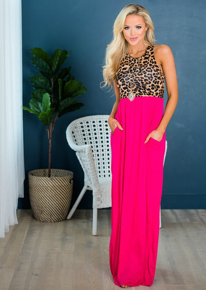 A New Side Of Me Tank Maxi Hot Pink Leopard