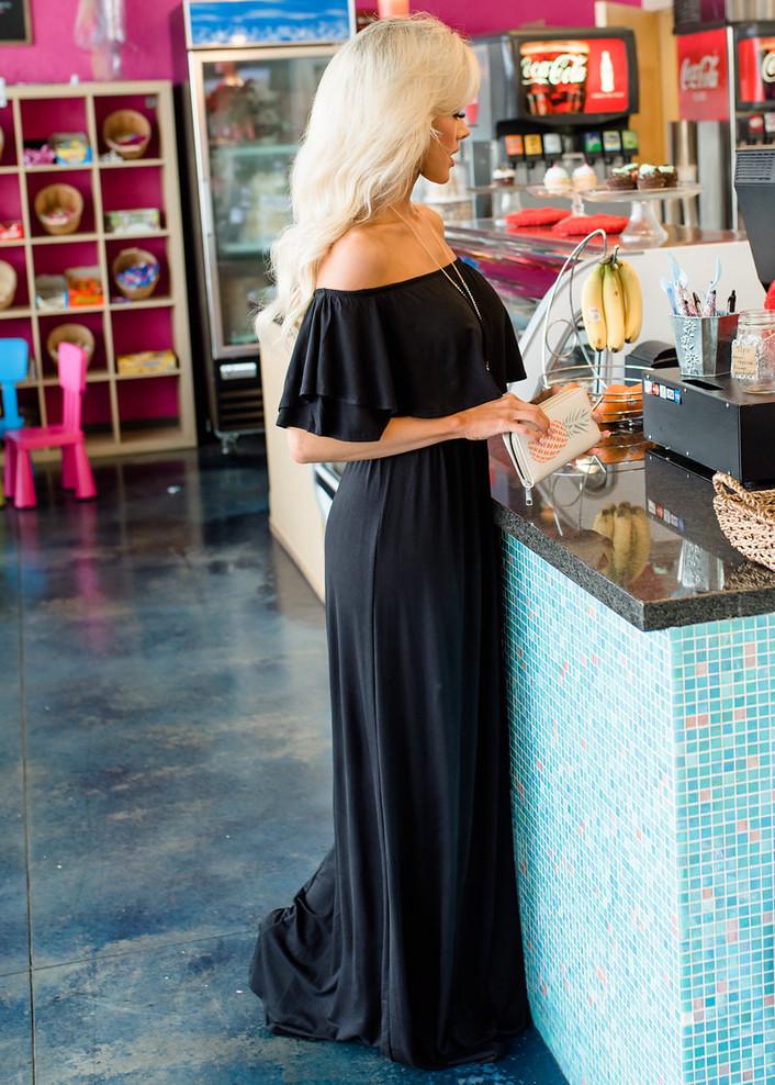 Need You Now Ruffle Top Maxi Dress Black