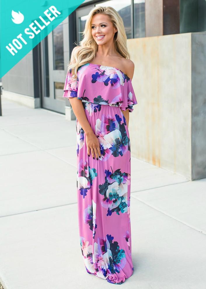 Weekend Walks Floral Ruffle Off Shoulder Maxi Dress Pink