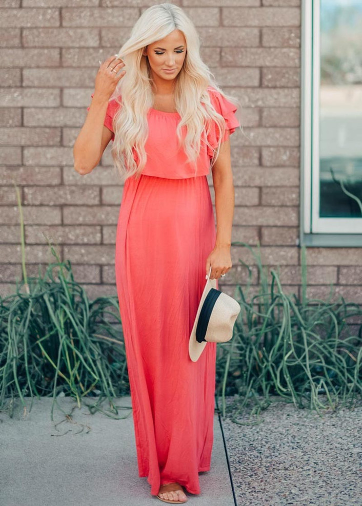 Need You Now Ruffle Top Maxi Dress Coral