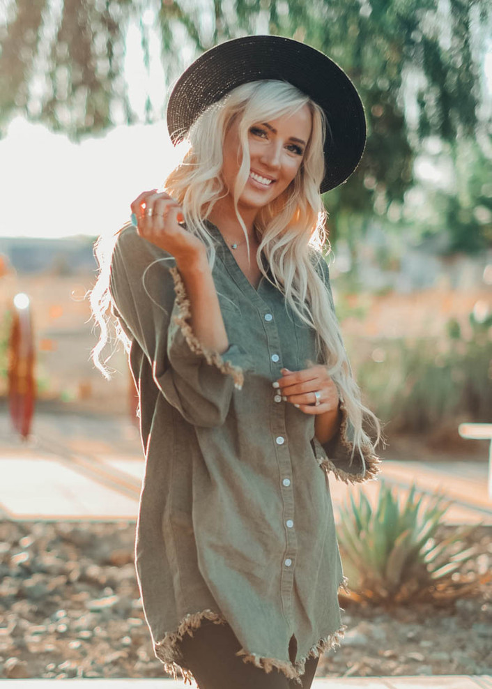 Denim Jean Frayed Button Up Tunic Dress Green