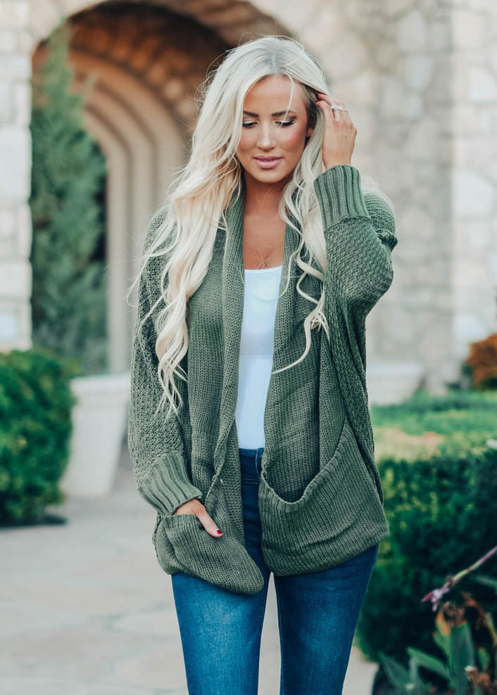 Laugh And Love Knit Dolman Cardigan Olive