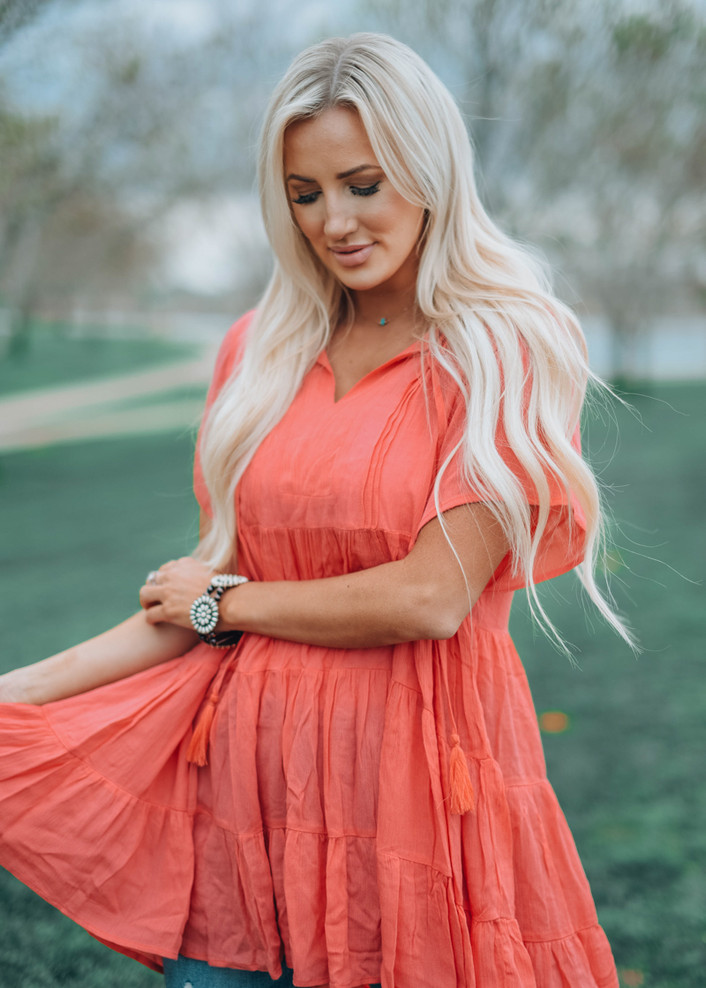 Dedicated To You Flowy Tunic Coral