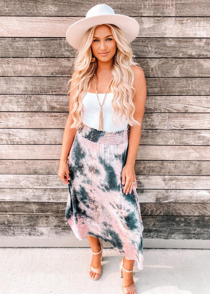 Take Away My Problems Tie Dye Maxi Skirt Mauve CLEARANCE
