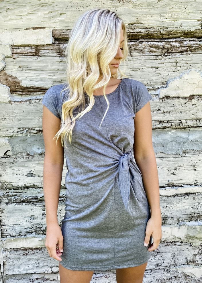 Lovely & Simple Crew Neck Detailed Tie Knot Dress Charcoal
