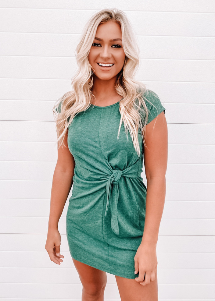 Lovely & Simple Crew Neck Detailed Tie Knot Dress Green CLEARANCE