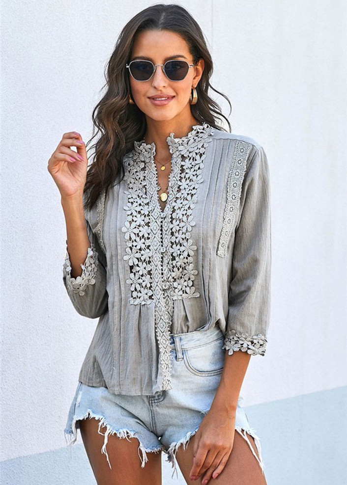 Happy and In Love Lace Panel Detail Button Up Top Grey