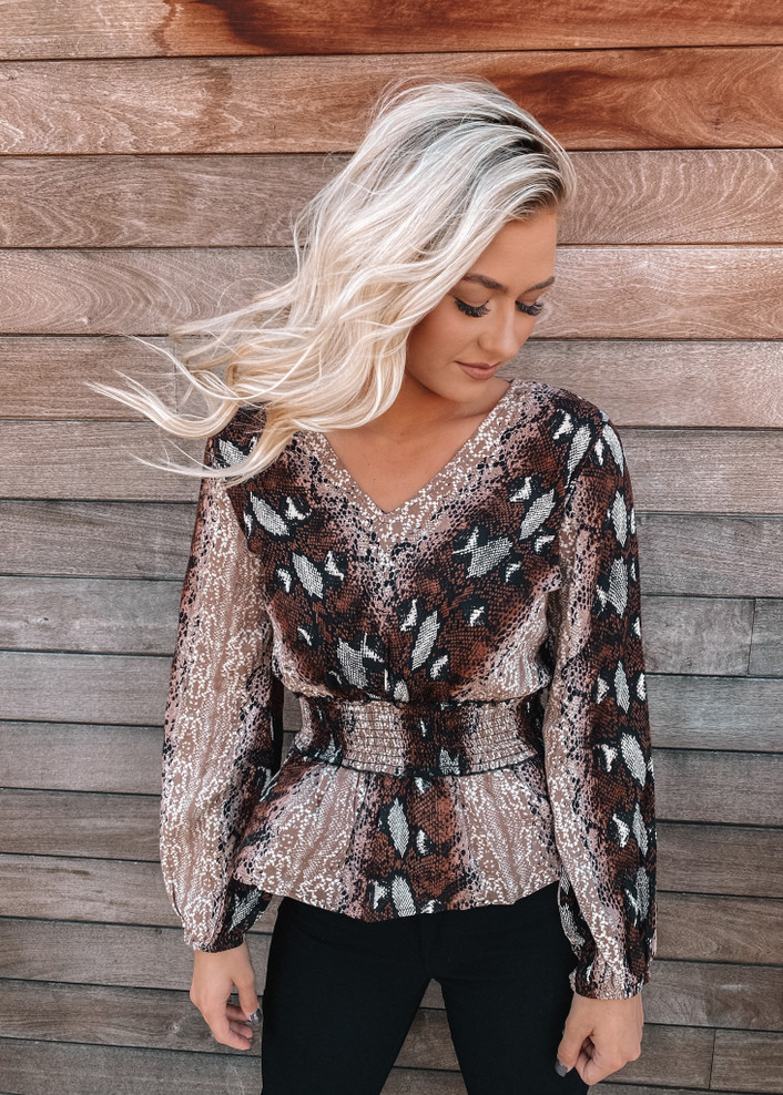 Snake Skin Smocked Detailed Top Brown CLEARANCE