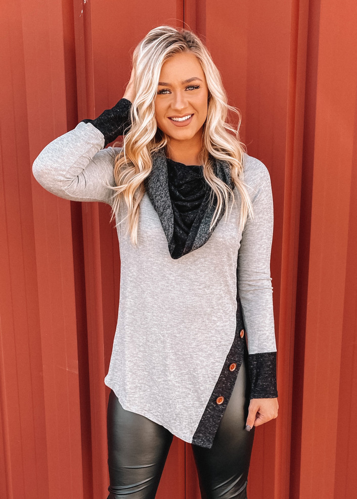 Walk Next To Me Cowl Neck Button Side Ribbed Top Grey