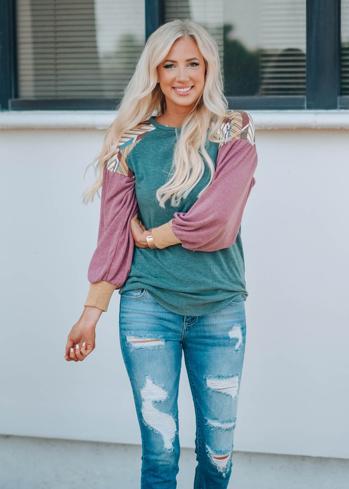 Don't Play With My Heart Colorblock Top Mauve