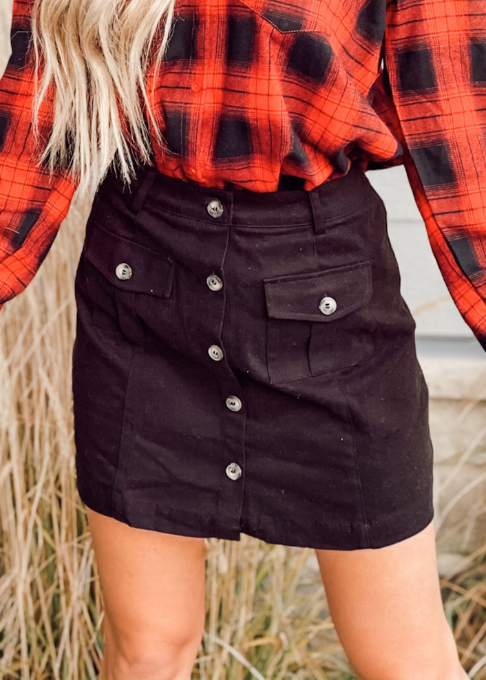 Mini A Line Button Front Pocket Skirt Black