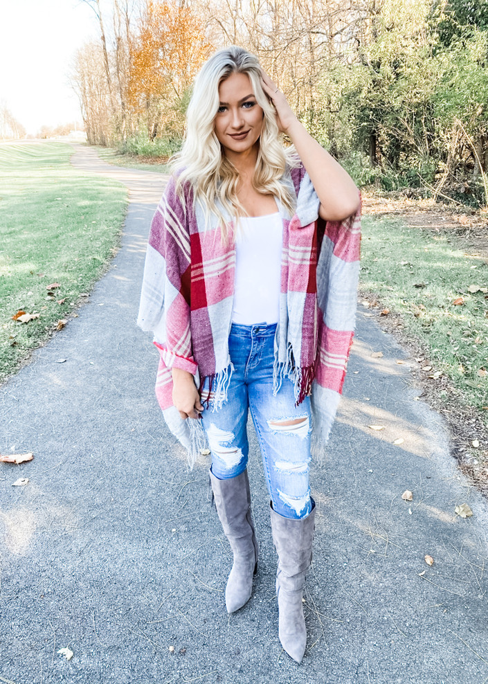 (Cyber Monday) Back in the Swing Plaid Shawl Wrap Red and Burgundy