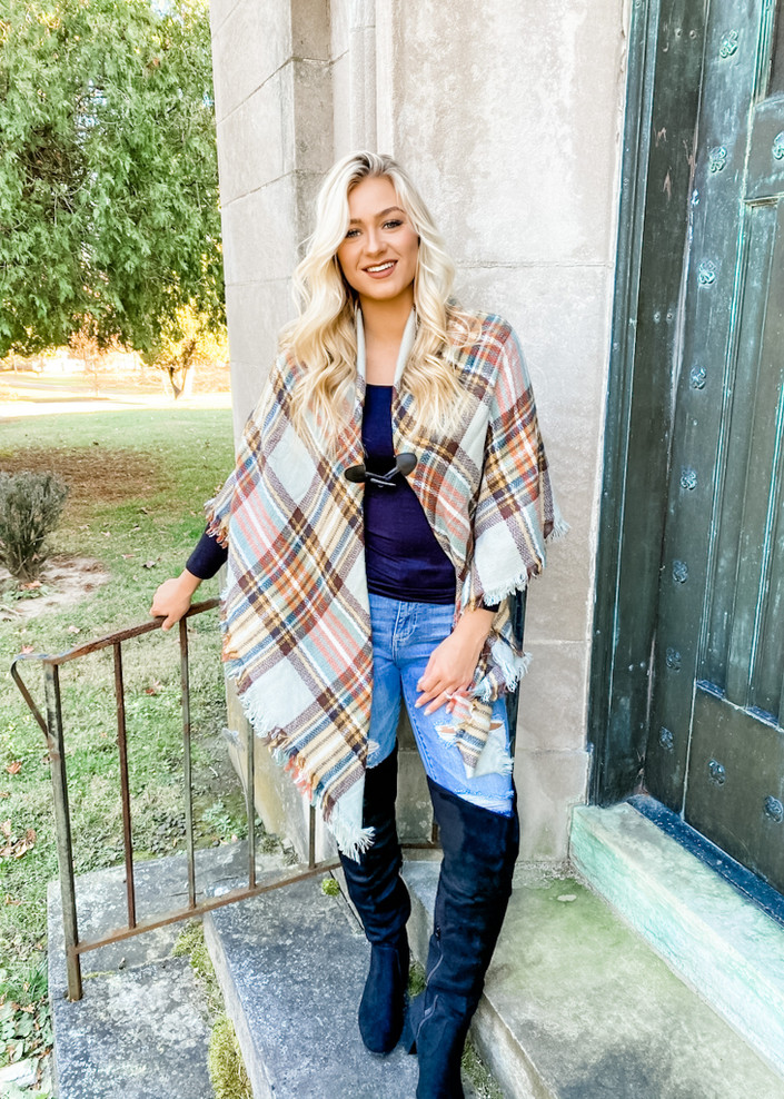 Classic Flannel Toggle Closure Plaid Poncho Grey/Mustard CLEARANCE