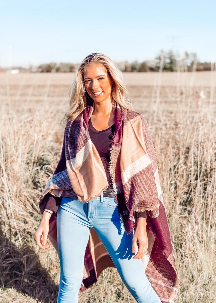 Colorblock Plaid Patterned Blanket Shawl/Scarf Maroon/Brown