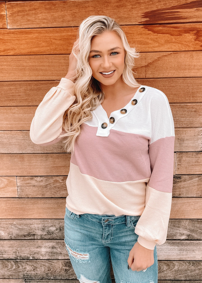 Casual Button Up Color Block Knit Top