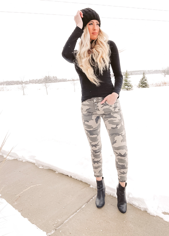 Button Fly Crinkle Camo Denim Jeans