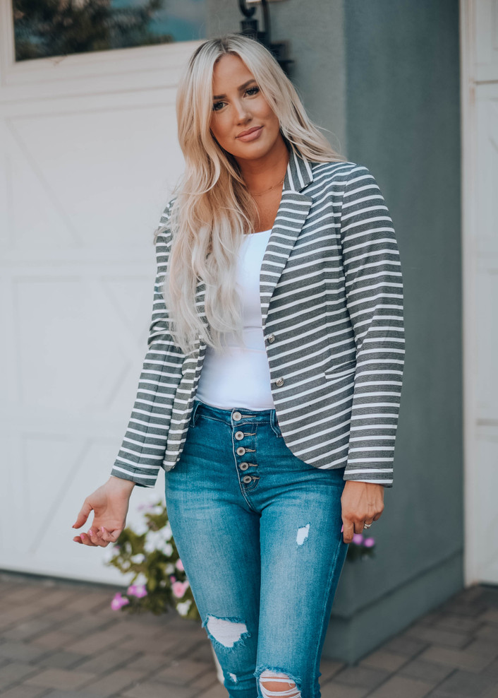 Very Flattering Striped Button Pocket Blazer Charcoal