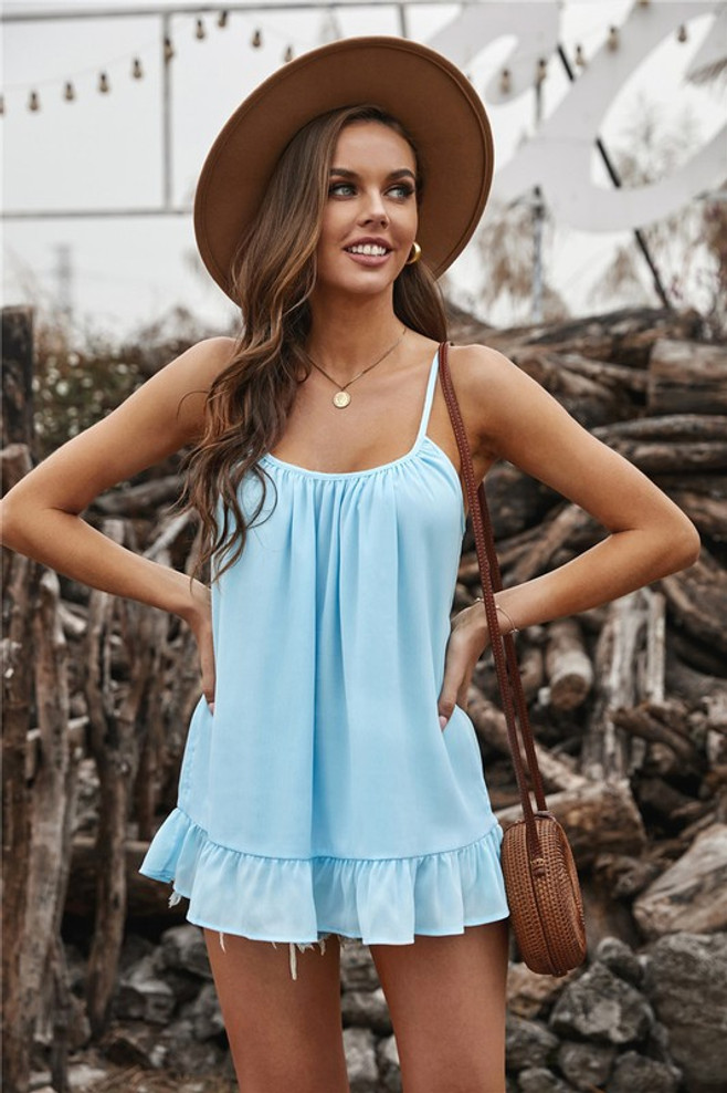 Pleated Ruffle Lightweight Spring Cami Tank Blue