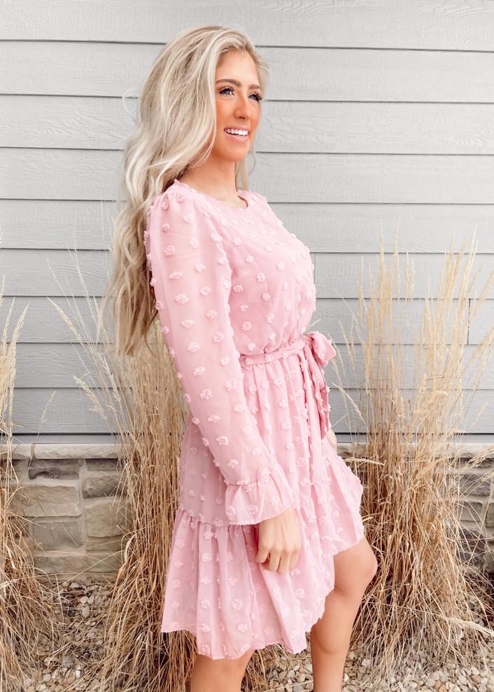 Polka Dot Textured Tie Ruffle Dress Pinkish