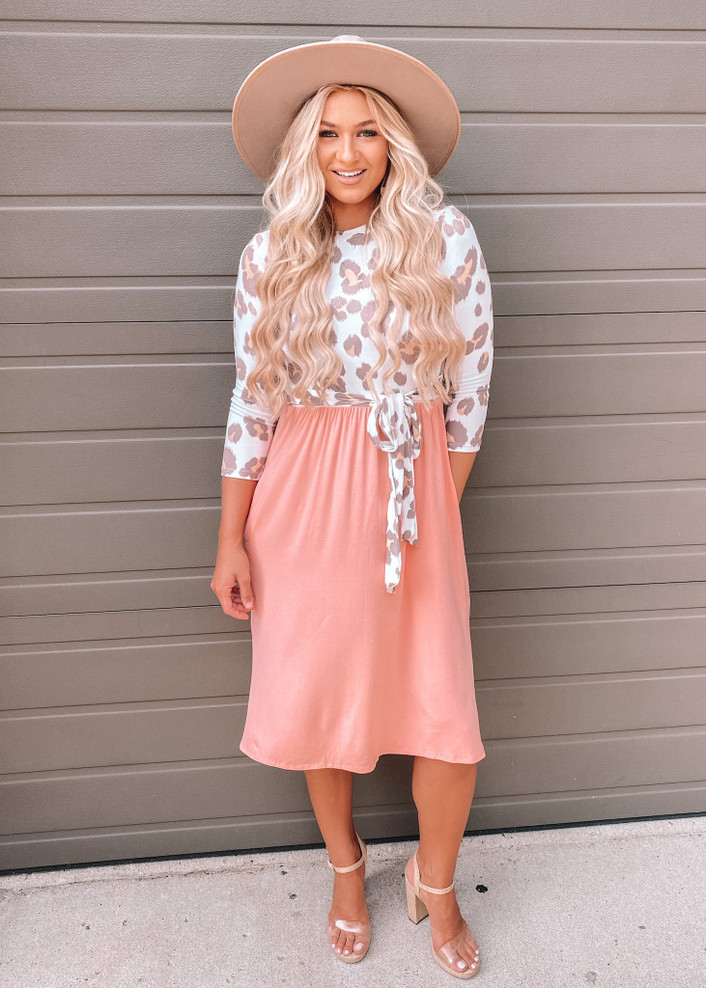 Nothin In My Way Leopard Wrap Tie Dress Blush