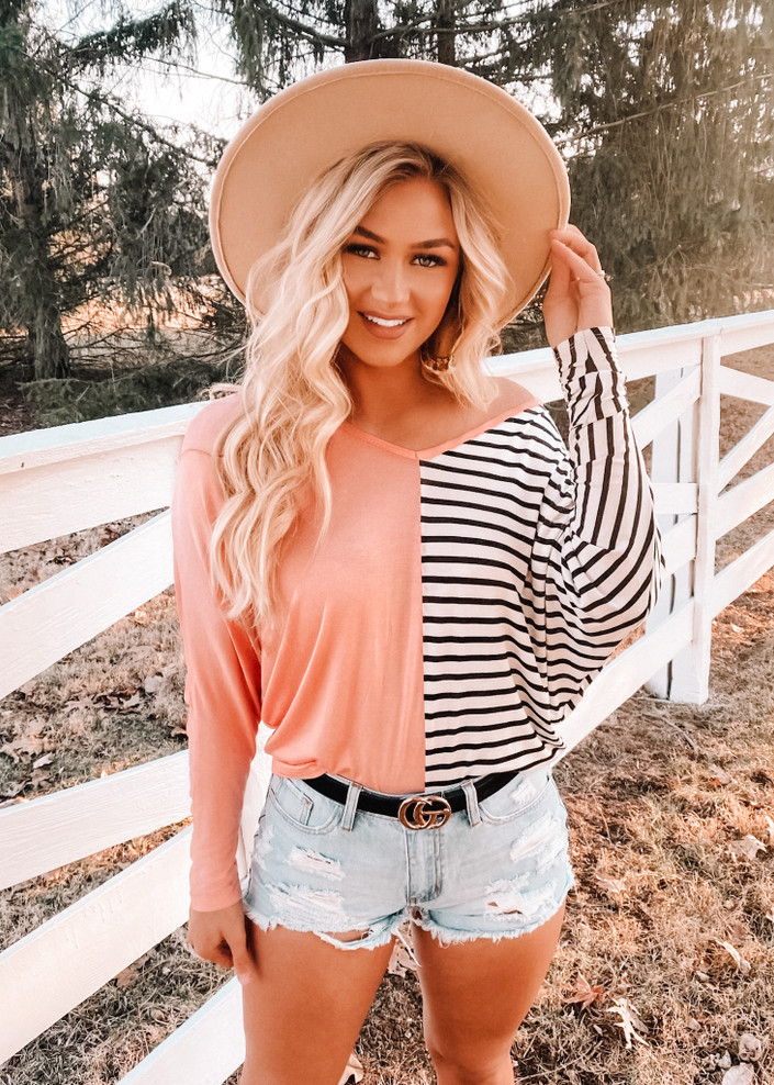 Opposites Attract Stripe Color Block Top Peach