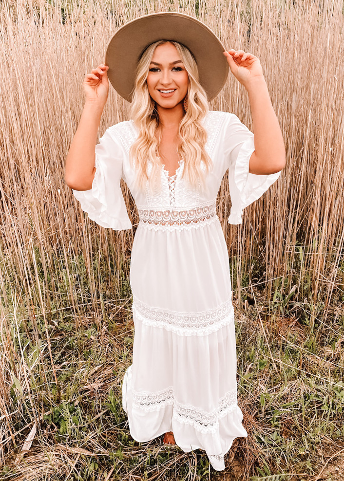 Perfection Lace Embroidery Bohemian Summer Sundress White
