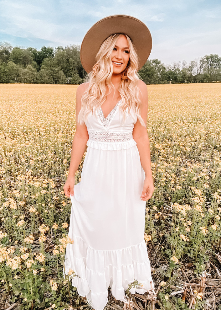 Elegant Lace Embroidered Details Maxi Dress White