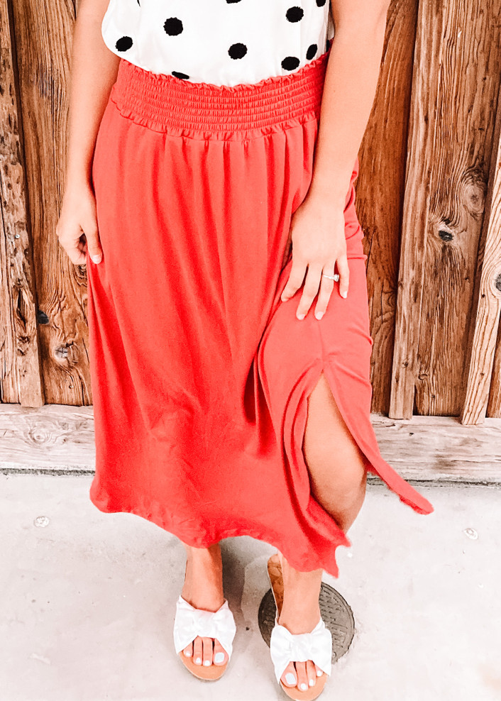 Smocking Waist Maxi Skirt with Side Pockets Cranberry