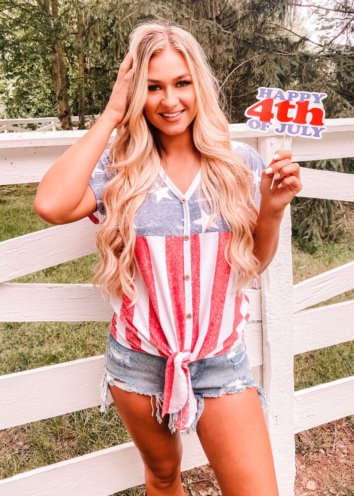 4th of July Sweetie Button Up Tie Top
