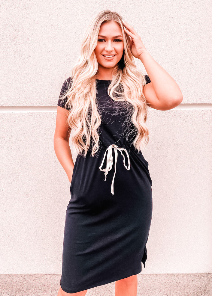 Cap Sleeve Cinched Tie Waist Pocket Mid Length Dress Black CLEARANCE