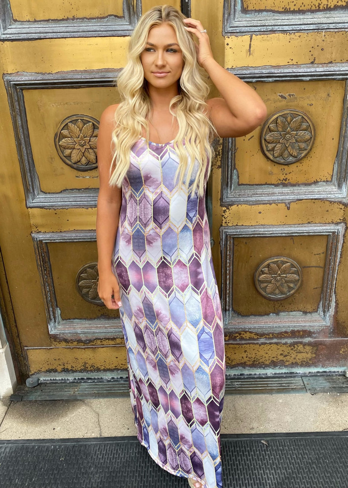 Nothing Can Stop Me Now Arrow Maxi Dress Purple CLEARANCE