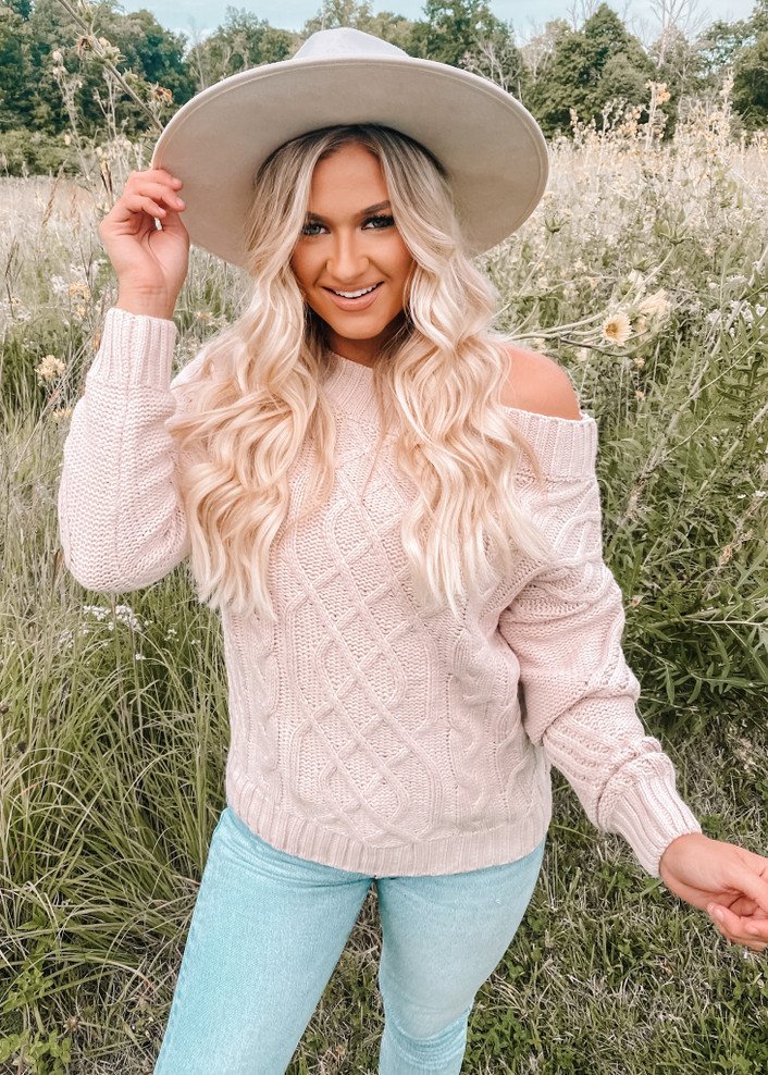 Cable Knit Off Shoulder Sweater Top Lt Pink
