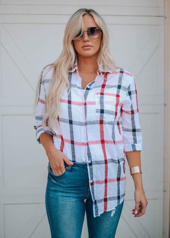 Perfect in Plaid Button Up Top White/Red