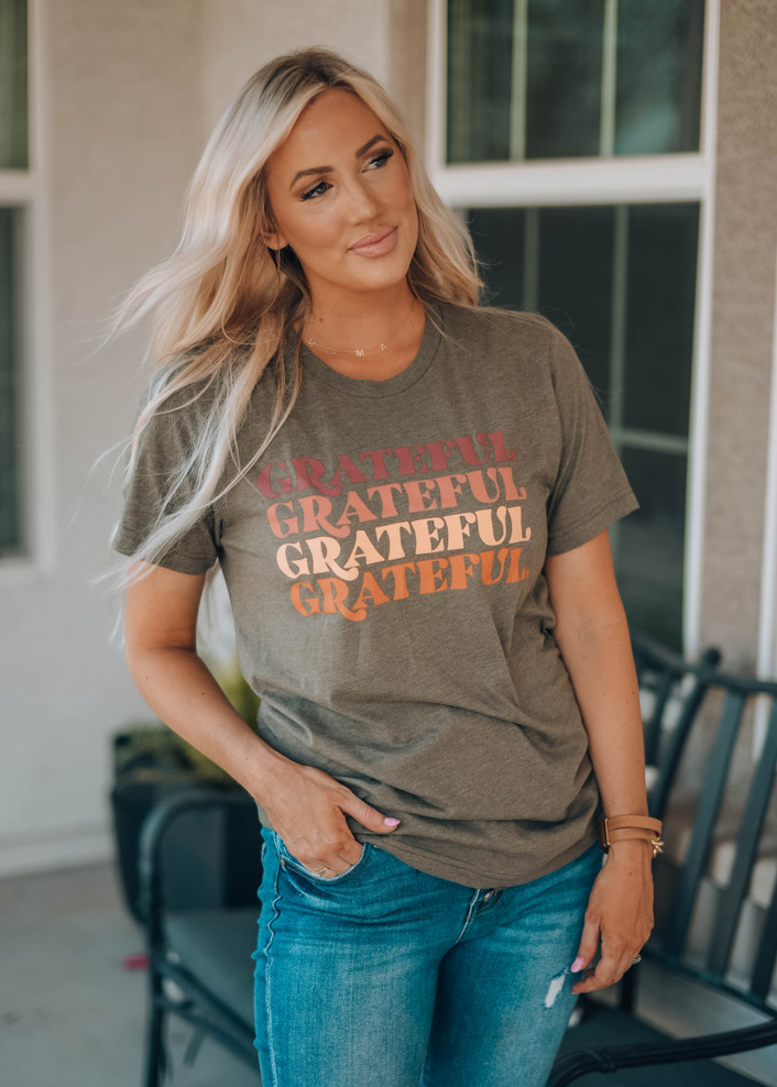 Grateful Repeat Graphic Tee Heather Olive