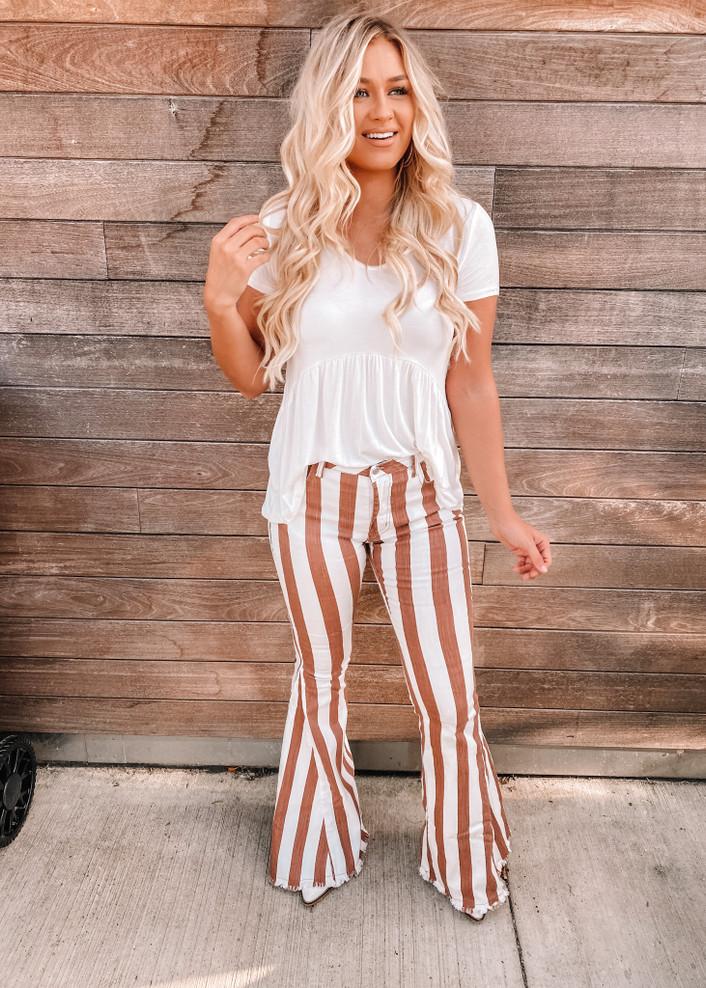 Striped Flare Fringe Bell Bottom Denim Jeans Rust
