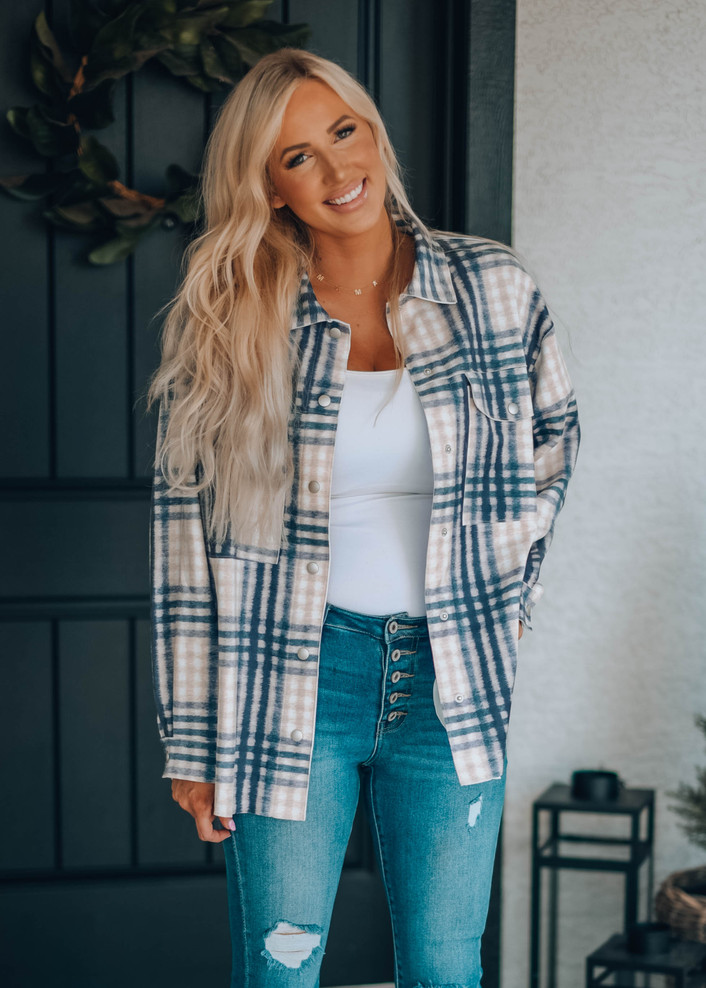 It's A Country Thang Plaid Button Top Tan/Navy