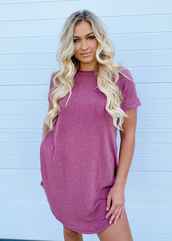 French Terry Relaxed Fit Pocket T Shirt Dress Burgundy