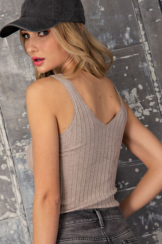 Ribbed Deep V-Neck Crop Knit Fabric Tank Oatmeal