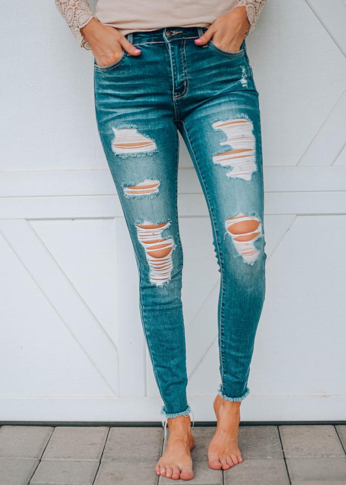 On My Way Out Distressed Denim Jeans Dark Wash