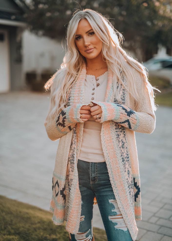 Amazing Aztec Trimed Out Open Cardigan Cream