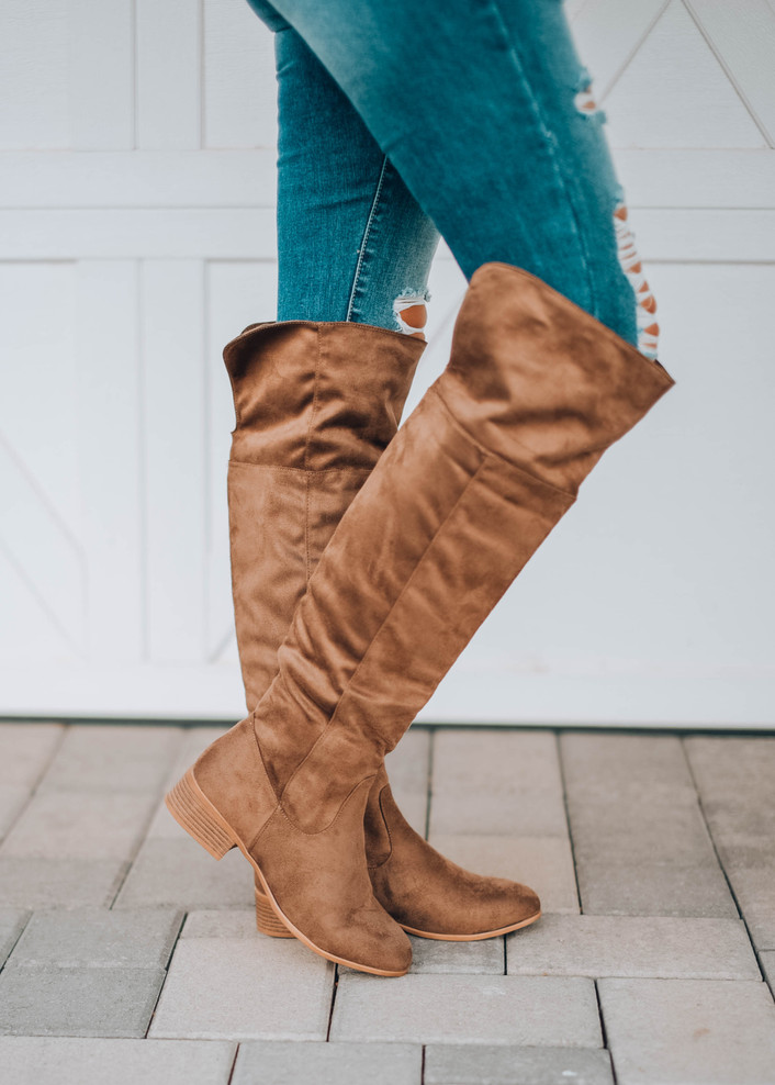 Take The Lead Knee High Boots Taupe