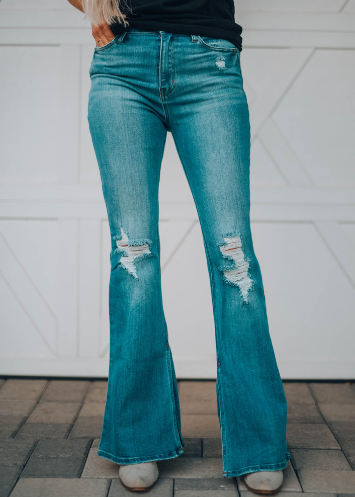 High Rise Long Inseam Slit Flare Denim Jeans