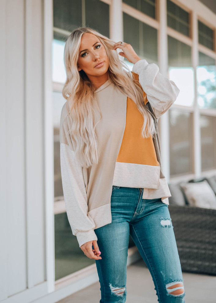 Oversized French Terry Colorblock Pullover Uneven Top
