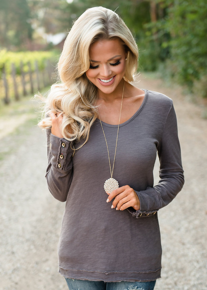 Declare My Love Top Taupe/Brown