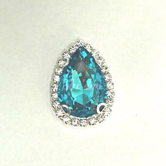 10 Pieces - 20 x 30 mm Tear Drop Glass Stone Light Blue