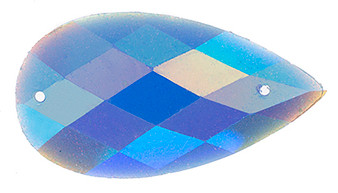 10 Pieces - 16 x 30 mm Tear Drop Stone Blue Glitter AB