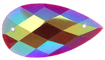 10 Pieces - 16 x 30 mm Tear Drop Stone Red Glitter AB