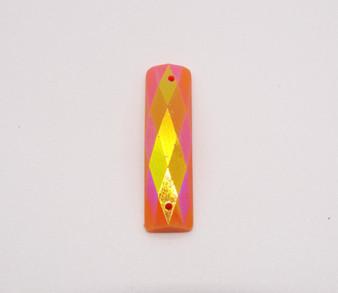 50 Pieces - 7 x 26 mm Rectangle Stone AB Finish Orange